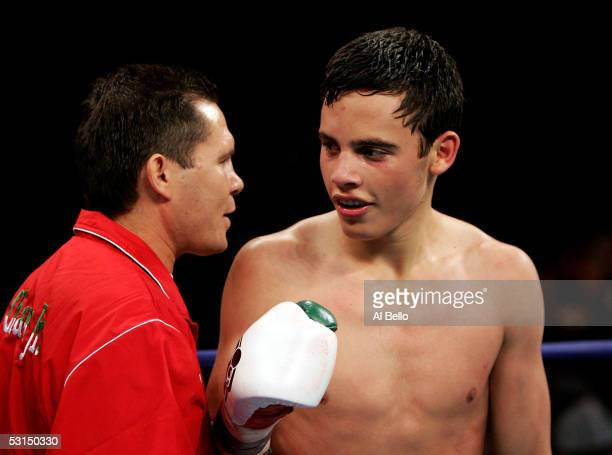Julio Cesar Chavez Jr is congratulated by his father former boxer Julio Cesar Chavez after Chavez Jr defeated Ruban Galvan in the Junior Welterweight...
