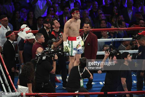 Julio Cesar Chavez Jr is introduced before his catchweight bout against Canelo Alvarez at TMobile Arena on May 6 2017 in Las Vegas Nevada Alvarez won...