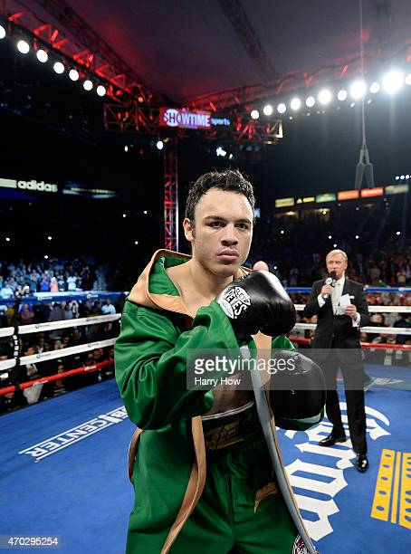 Julio Cesar Chavez Jr is introduced before his fight against Andrzej Fonfara during the WBC light heavyweight title fight at StubHub Center on April...