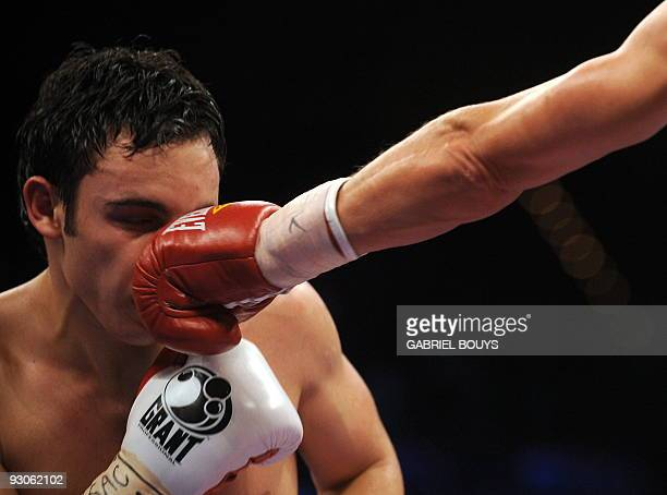 Julio Cesar Chavez jr of Mexico is punche by Troy Rowland of the US during their middleweigh special attraction fight on November 14 2009 at the MGM...