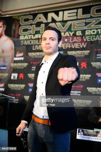 Julio Cesar Chavez Jr poses for pictures during a press conference to promote the fight between Canelo Alvarez and Julio Cesar Chavez Jr at Minute...