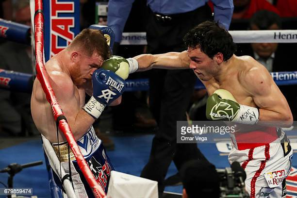 Julio Cesar Chavez Jr punches Canelo Alvarez during their catchweight bout at TMobile Arena on May 6 2017 in Las Vegas Nevada