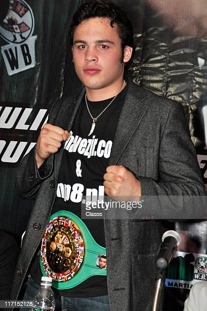 Julio Cesar Chavez Jr received his green belt at Big Bola Casino Interlomas Mexico City on June 22 2011 in Mexico DF Mexico