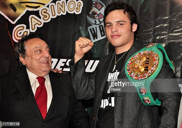 Julio Cesar Chavez Jr received his green belt with Jose Sulaiman Chagnon at Big Bola Casino Interlomas Mexico City on June 22 2011 in Mexico DF Mexico