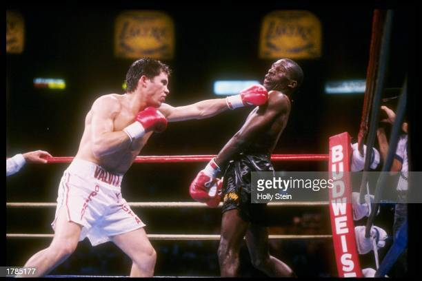 Julio Cesar Chavez throws a punch during a fight against Roger Mayweather Chavez won the fight Mandatory Credit Holly Stein /Allsport