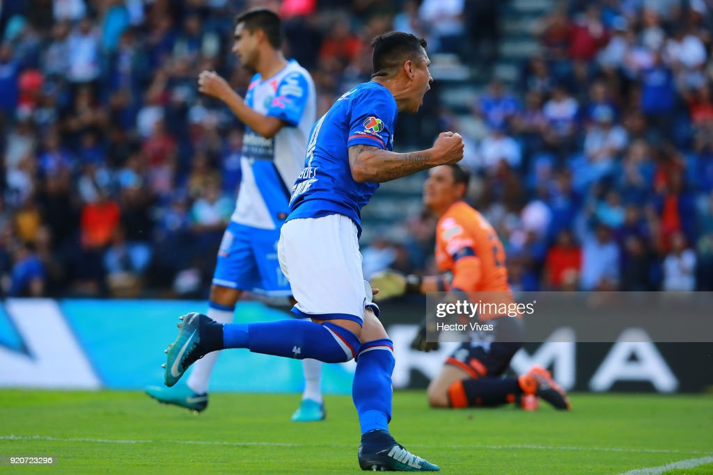 Julio Cesar Dominguez of Cruz Azul celebrates after scoring the first goal of his team during the 8th round match between Cruz Azul and Puebla as part of the Torneo Clausura 2018 Liga MX at Azul Stadium on February 17, 2018 in Mexico City, Mexico.