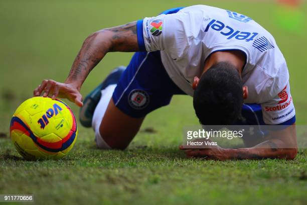 Julio Cesar Dominguez of Cruz Azul reacts during the 4th round match between Toluca and Cruz Azul as part of the Torneo Clausura 2018 Liga MX at...