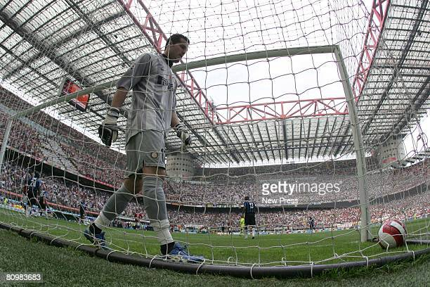 Julio Cesar keeper of Inter concedes a goal from Kaka of Milan during the Serie A match between Milan and Inter at the Stadio San Siro on May 4 2008...
