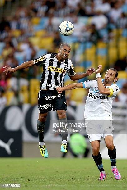 Julio Cesar of Botafago goes up for a header against Barcos of Gremio during a match between Botafogo and Gremio as part of Brasileirao Series A 2014...