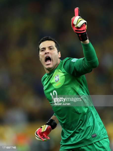 Julio Cesar of Brazil celebrates the opening goal during the FIFA Confederations Cup Brazil 2013 Final match between Brazil and Spain at Maracana on...