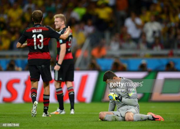 Julio Cesar of Brazil shows his dejection after conceding the sixth goal to Germany during the 2014 FIFA World Cup Brazil Semi Final match between...