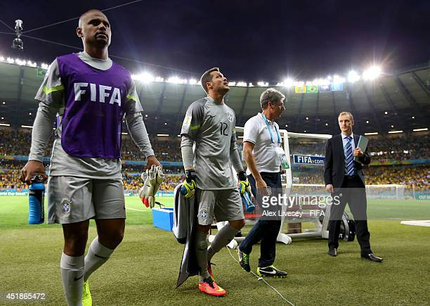 Julio Cesar of Brazil walks off the pitch after the first half during the 2014 FIFA World Cup Brazil Semi Final match between Brazil and Germany at...