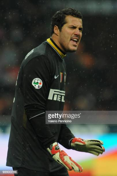 Julio Cesar of FC Internazionale issues instructions during the Serie A match between Inter Milan and Fiorentina at Stadio Giuseppe Meazza on...