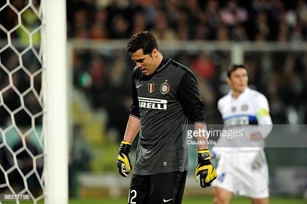 Julio Cesar of FC Internazionale Milano during the Serie A match between ACF Fiorentina and FC Internazionale Milano at Stadio Artemio Franchi on...