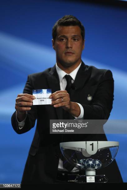 Julio Cesar of Inter Milan and Brazil draws the name of Bayern Munich during the UEFA Champions League Group Stage draw at the Grimaldi Forum on...