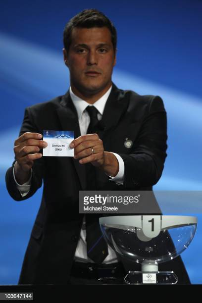 Julio Cesar of Inter Milan and Brazil draws the name of Chelsea during the UEFA Champions League Group Stage draw at the Grimaldi Forum on August 26...