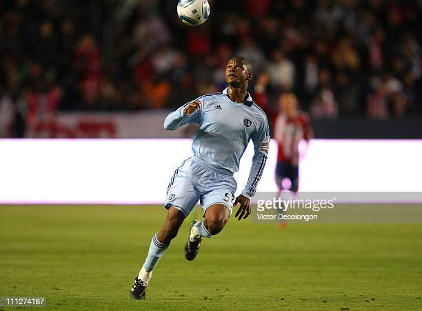Julio Cesar of Sporting Kansas City looks to control the ball during the MLS match against Chivas USA at The Home Depot Center on March 19 2011 in...