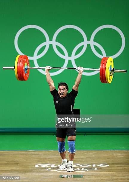 Julio Cesar Salamanca Pineda of El Salvador competes during the Men's 62kg Group B weightlifting contest on Day 3 of the Rio 2016 Olympic Games at...