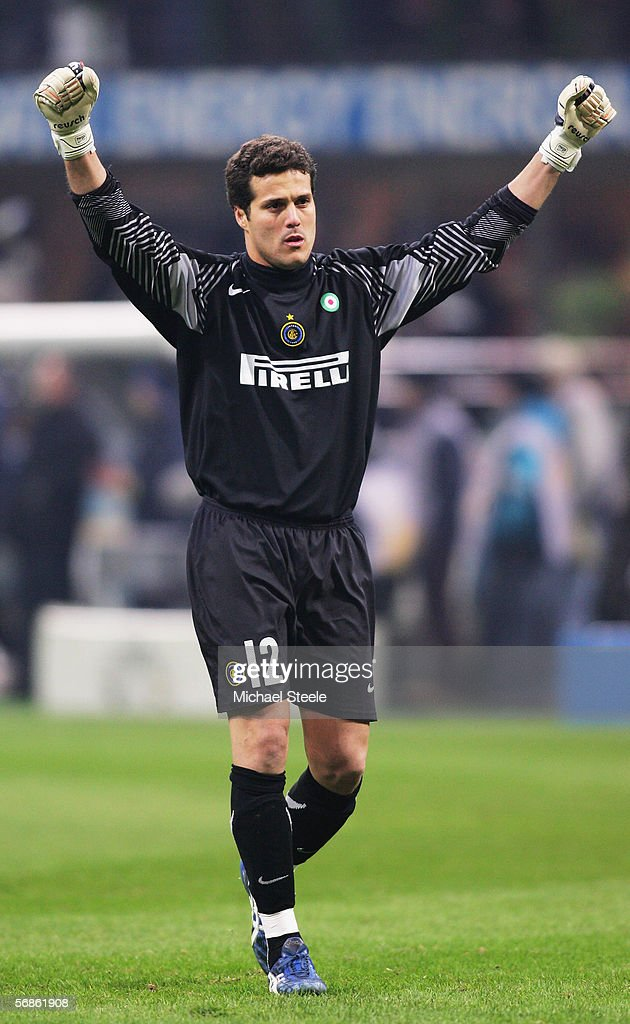 Julio Cesar Soares of Inter Milan celebrates during the Serie A match between Inter Milan and Juventus at the Stadio San Siro on February 12, 2006 in Milan, Italy.