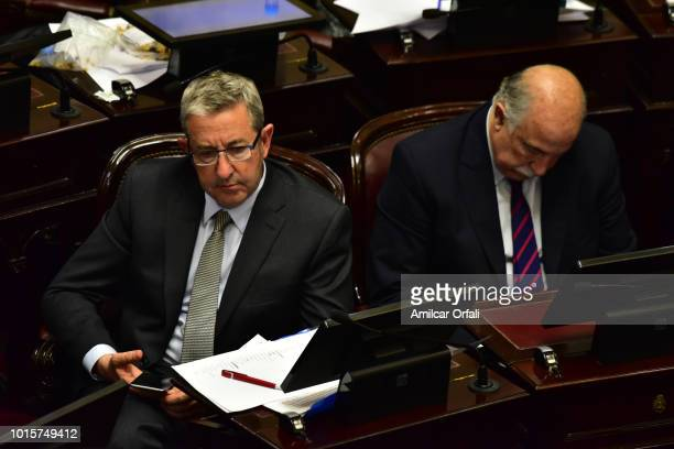 Julio Cobos senator for Mendoza looks on while senators vote for the new abortion law on August 8 2018 in Buenos Aires Argentina The bill aims to...