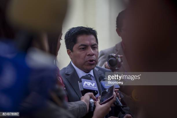 Julio Csar Espinoza attorney for former Peruvian President Ollanta Humala speaks to members of the media before a hearing at the National Criminal...