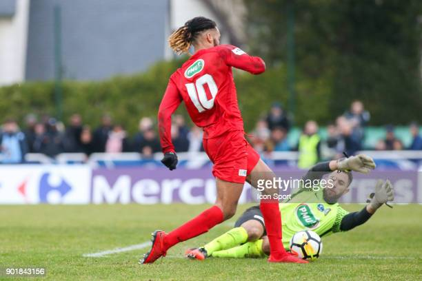 Julio Donisa of Concarneau and Kevin Baillif of Houilles during the french National Cup match between Houilles and Concarneau on January 6 2018 in...