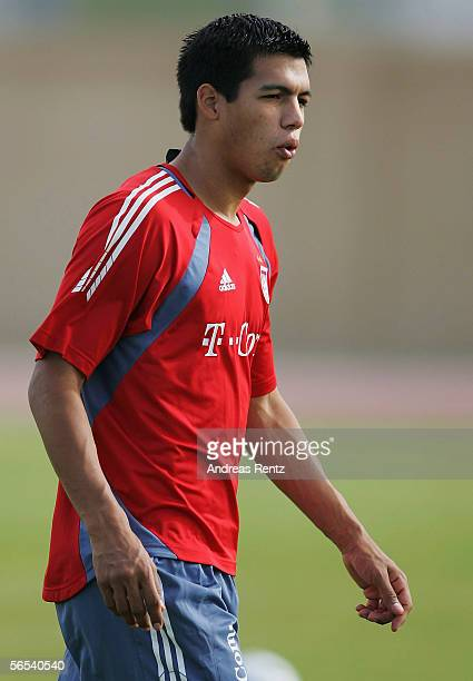Julio Dos Santos looks on during the Bayern Munich training camp on January 8 2006 in Dubai United Arab Emirates