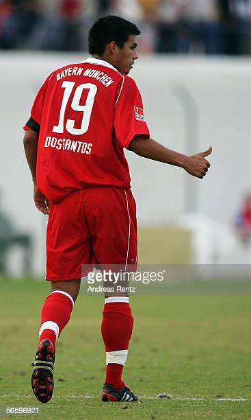 Julio Dos Santos of Munich gestures in his first match for Bayern Munich during the friendly match between Bayern Munich and FC Zuerich at the Dubai...