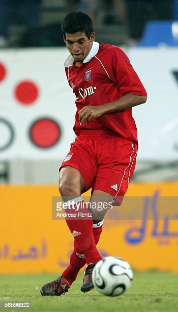 Julio Dos Santos of Munich in action in his first match for Bayern Munich during the friendly match between Bayern Munich and FC Zuerich at the Dubai...