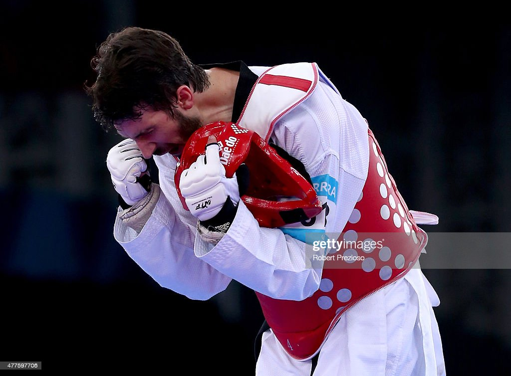 Julio Ferreira of Portugal celebrates victory over Richard Ordemann of Norway during the Men's Taekwondo -80kg bronze medal final on day six of the Baku 2015 European Games at the Crystal Hall on June 18, 2015 in Baku, Azerbaijan.