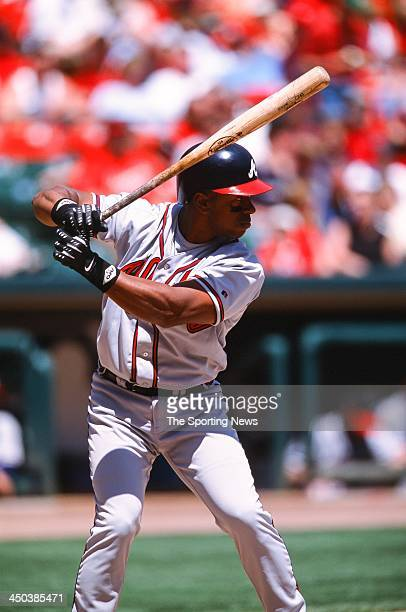 Julio Franco of the Atlanta Braves bats against the St Louis Cardinals at Busch Stadium on May 4 2002 in St Louis Missouri