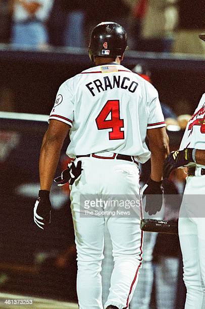 Julio Franco of the Atlanta Braves during Game Five of the National League Championship Series against the Arizona Diamondbacks on October 21 2001 at...
