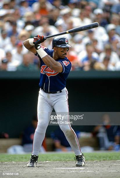 Julio Franco of the Cleveland Indians bats against the Baltimore Orioles during an Major League Baseball game circa 1996 at Oriole Park at Camden...