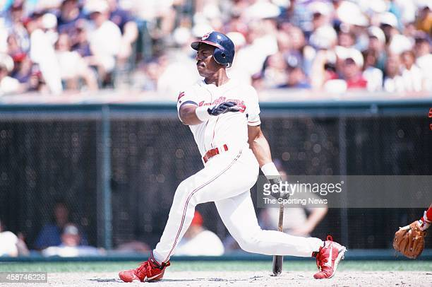 Julio Franco of the Cleveland Indians bats against the Texas Rangers at Progressive Field on May 18 1996 in Cleveland Ohio