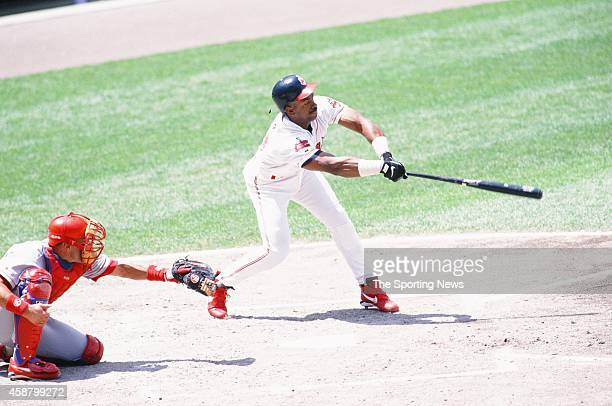 Julio Franco of the Cleveland Indians bats against the Texas Rangers at Progressive Field on May 19 1996 in Cleveland Ohio