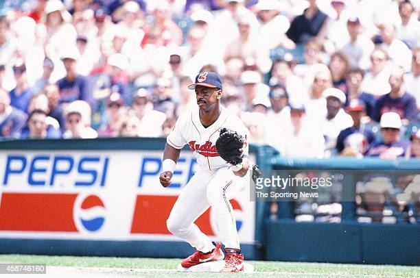 Julio Franco of the Cleveland Indians fields against the Texas Rangers at Progressive Field on May 18 1996 in Cleveland Ohio