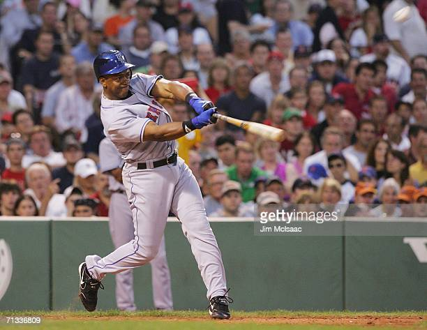 Julio Franco of the New York Mets hits a groundrule double in the fifth inning against the Boston Red Sox on June 29 2006 at Fenway Park in Boston...