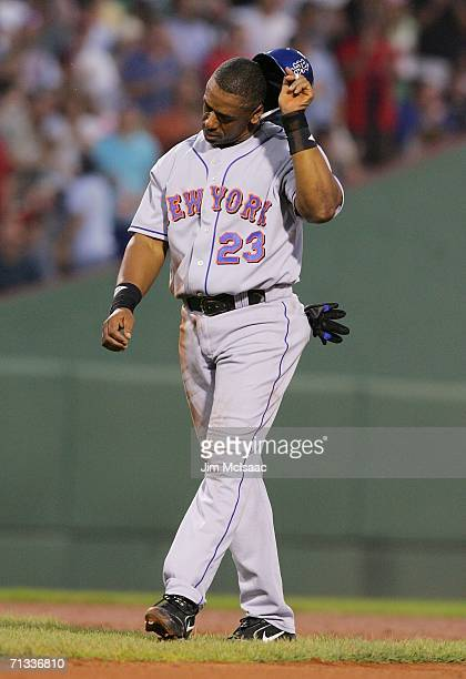 Julio Franco of the New York Mets reacts after being picked off second base in the fifth inning against the Boston Red Sox on June 29 2006 at Fenway...
