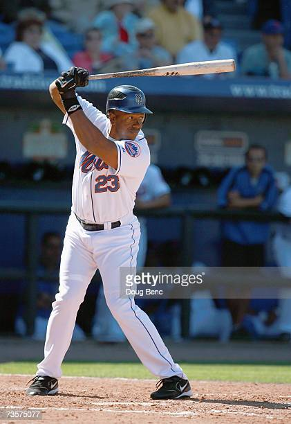 Julio Franco of the New York Mets stands ready at bat against the Cleveland Indians in a spring training game on March 5 2007 at Tradition Field in...