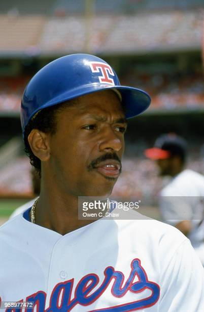 Julio Franco of the Texas Rangers at the 1989 MLB All Star Game played at the Big A circa 1989 in Anaheim California