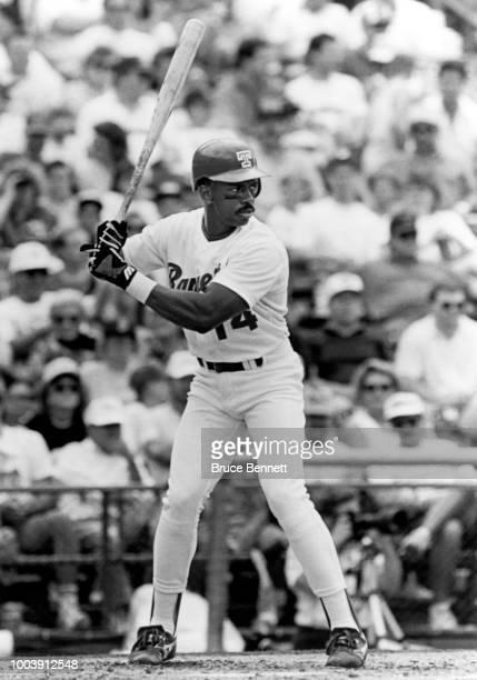 Julio Franco of the Texas Rangers bats during an MLB game circa 1989