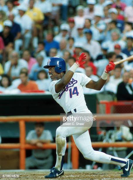 ANAHEIM CA Julio Franco of the Texas Rangers circa 1989 bats in the 989 MLB All Star Game at the Big A In Anaheim California