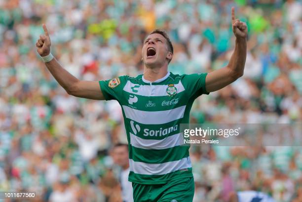 Julio Furch of Santos celebrates after scoring the first goal of his team during the third round match between Santos Laguna and Puebla as part of...