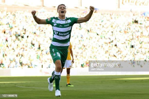 Julio Furch of Santos celebrates after scoring the first goal of his team during the fifth round match between Santos Laguna and Tigres UANL as part...