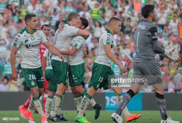 Julio Furch of Santos celebrates after scoring the first goal of his team during the 17th round match between Santos Laguna and Toluca as part of the...