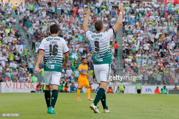 Julio Furch of Santos celebrates after scoring the first goal of his team during the 2nd round match between Santos Laguna and Tigres UANL as part of...