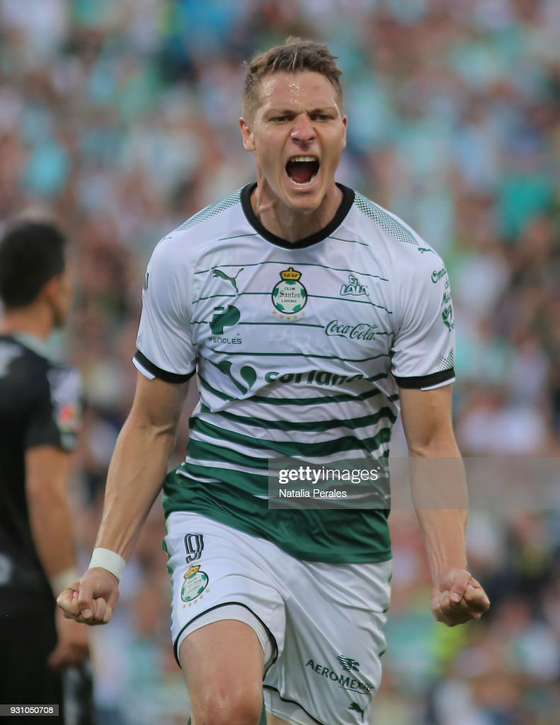 Julio Furch of Santos celebrates after scoring the second goal of his team during the 11th round match between Santos Laguna and Monterrey as part of the Torneo Clausura 2018 Liga MX at Corona Stadium on March 11, 2018 in Torreon, Mexico.