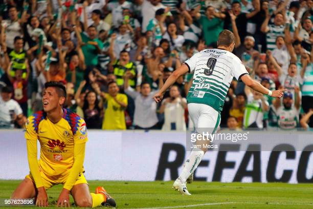 Julio Furch of Santos celebrates after scoring the third goal of his team during the semifinals first leg match between Santos Laguna and America as...