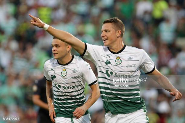 Julio Furch of Santos celebrates his goal during a match between Santos and Chivas as part of Copa MX 2017 at Corona Stadium on July 26 2017 in...