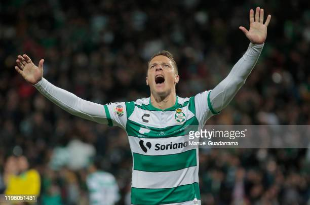 Julio Furch of Santos celebrates his goal during the 4th round match between Santos Laguna and Pumas UNAM as part of the Torneo Clausura 2020 Liga MX...